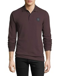 Belstaff Selbourne Pique Long Sleeve Polo Shirt Purple