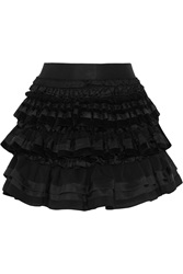 Faith Connexion Ruffled Lace Satin And Corduroy Mini Skirt