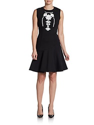 Marchesa Voyage Embellished Fit And Flare Dress Black