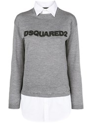 Dsquared2 Jumper With Shirt Detail Wool Cotton Grey
