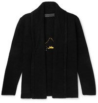 The Elder Statesman Shawl Collar Intarsia Cashmere Cardigan Black
