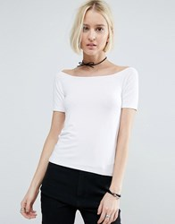 Asos Off Shoulder Top With Short Sleeve White