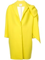 Delpozo Bow Embellished Cocoon Coat Yellow And Orange