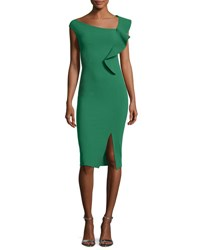 Chiara Boni La Petite Robe Imani Asymmetric Ruffle Cocktail Sheath Dress Pavone