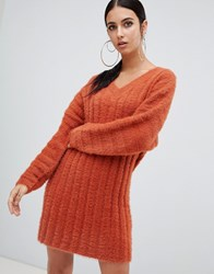 Missguided V Neck Fluffy Knitted Jumper Dress Brown