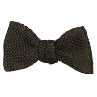 40 Colori Dark Brown Knitted And Woven Silk Butterfly Bow Tie