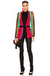 Balmain Stripe Knit Jacket In Abstract Black Green Orange Pink Purple Abstract Black Green Orange Pink Purple