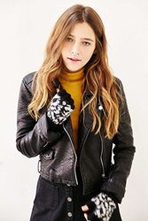 Urban Outfitters Brushed Fuzzy Fingerless Gloves Black And White