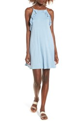 Socialite Women's Ruffle High Neck Dress Dusty Blue