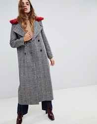 Neon Rose Maxi Coat In Checked Tweed With Faux Fur Collar Grey