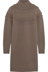 Agnona Fringed Wool And Cashmere Blend Mini Sweater Dress Brown