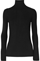 Alex Mill Ribbed Wool Blend Turtleneck Sweater Black