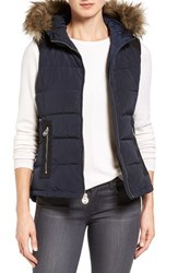 Michael Michael Kors Women's Hooded Puffer Vest With Faux Fur Trim Navy