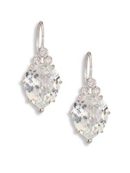 Anzie Classique Pear White Topaz And White Sapphire Drop Earrings Silver