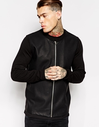 Asos Bomber With Leather Look Front Black
