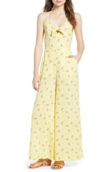 Love Fire Wide Leg Jumpsuit Yellow Floral