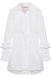 Maggie Marilyn Hold It Together Herringbone Cotton Jacquard Dress White