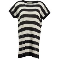 Amy Hall Striped T Shirt Dress Black White