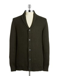 7 Diamonds Textured Button Front Cardigan Army