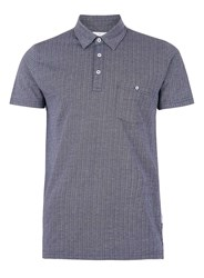 Peter Werth Blue Navy And White Textured Polo Neck T Shirt