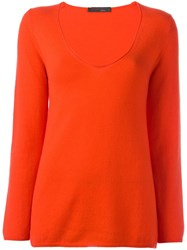 Incentive Cashmere V Neck Jumper Yellow Orange
