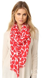 Kate Spade Heart To Heart Oblong Scarf Rooster Red