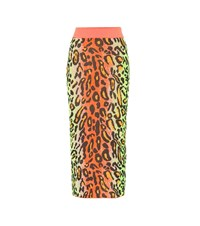 Stella Mccartney Neon Leopard Knitted Skirt Multicoloured