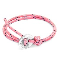 Anchor And Crew Lerwick Rope Silver Braceletpink
