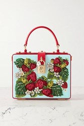 Dolce And Gabbana Box Embellished Embroidered Printed Textured Leather Tote Light Blue