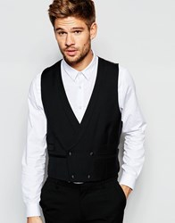 Hart Hollywood By Nick Hart 100 Wool Double Breasted Tuxedo Waistcoat In Slim Fit Black