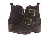 Frye Sabrina Double Buckle Fatigue Oiled Suede Cowboy Boots Brown