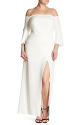Abs By Allen Schwartz Off The Shoulder Bell Sleeve Gown Plus Size White