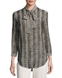 Nina Ricci Striped Leopard Print Silk Blouse Multi Pattern