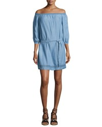 Paige Beatrice Off The Shoulder Chambray Dress Persephone Indigo