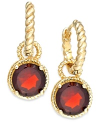Victoria Townsend 18K Gold Over Sterling Silver Garnet Rope Drop Earrings 3 1 5 Ct. T.W.