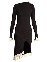 Esteban Cortazar Funnel Neck Ribbed Knit Dress Black