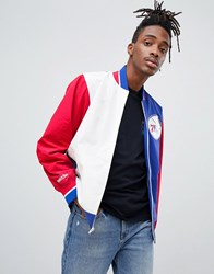 Mitchell And Ness Philadelphia 76Ers Team History Warm Up Jacket In Blue