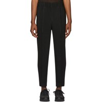Homme Plisse Issey Miyake Black Tapered Tailored Trousers