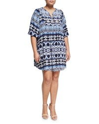 Chelsea And Theodore Plus Studded Bib 3 4 Sleeve Dress Blue Pattern