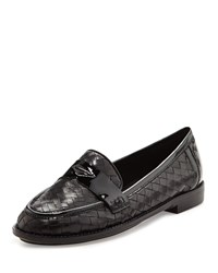 Nattie Woven Leather Loafer Black Sesto Meucci