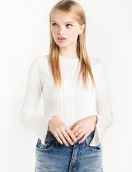 Pixie Market White Skinny Ribbed Long Sleeve Top