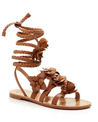 Tory Burch Blossom Lace Up Gladiator Sandals Royal Tan