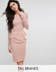 City Goddess Tall Pencil Dress With Lace Top Nude Pink