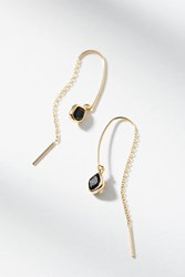 Anthropologie Dainty Stone Threader Earrings Black