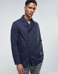 Sisley Double Breasted Pea Coat With Waxed Lining Navy