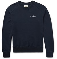 Everest Isles Embroidered Loopback Cotton Jersey Sweatshirt Midnight Blue