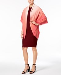 Vince Camuto Ombre Border Square Wrap And Scarf In One Coral