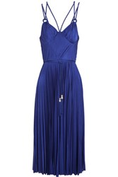 Catherine Deane Galactic Cutout Plisse Satin Midi Dress Cobalt Blue