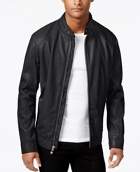 Calvin Klein Men's Faux Leather Moto Jacket Black