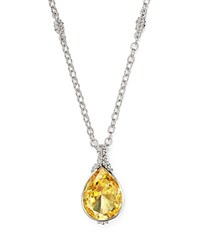 Judith Ripka Bermuda Pear Pendant Necklace With Canary Crystal 17 Yellow Silver